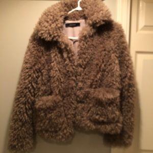 Zara faux fur jacket size S